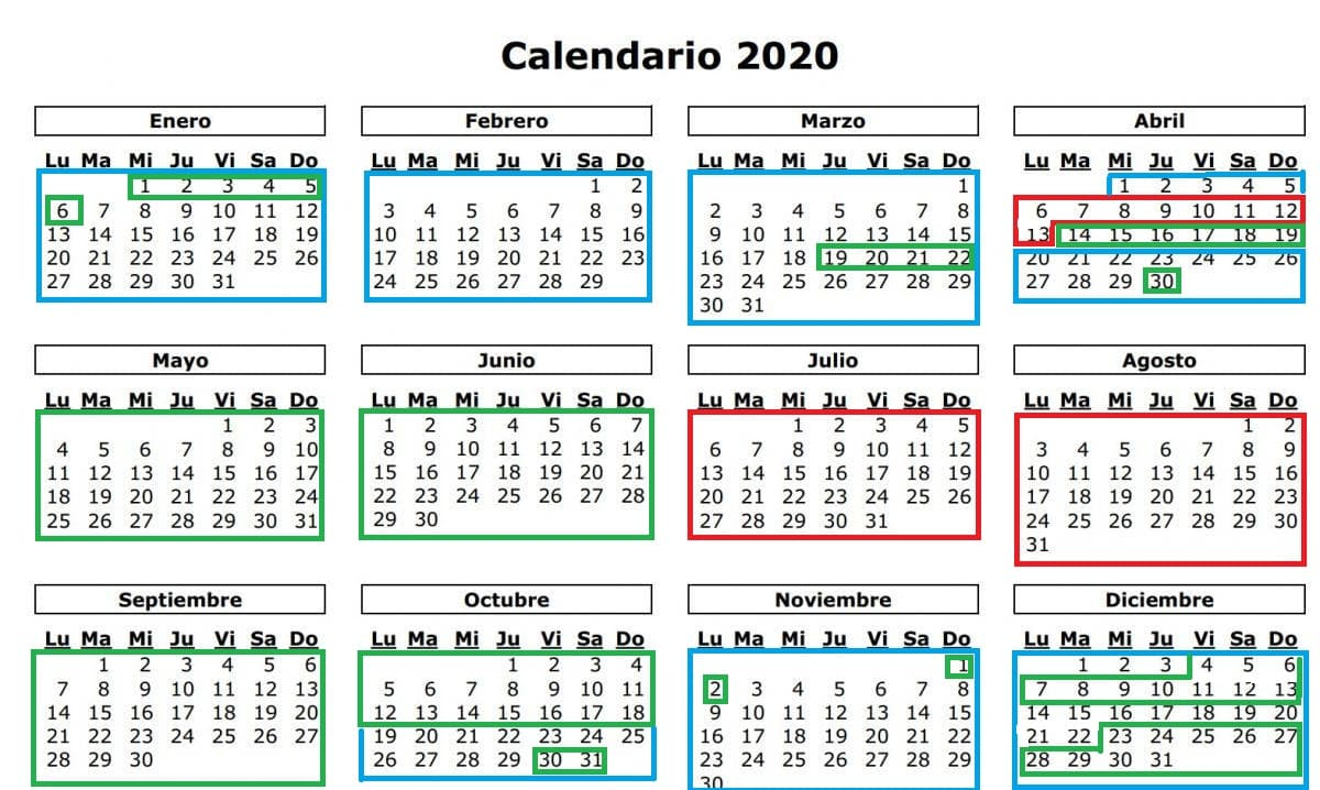 Calendario de tarifas alquiler autocaravana